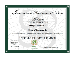 School of Soundsmiths Cert